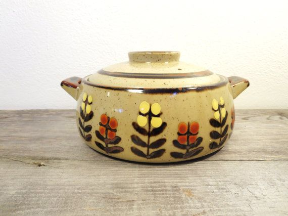 Vintage Casserole Dish / Pottery Serving Bowl / Retro Serving Bowl / Rustic Serving on Etsy, $34.00