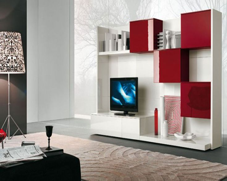 Best Collection Of Modern Living Room Wall Unit Ideas : Modern Red and White TV Wall Unit with Glossy Red Plaid Storage and Bookcase for Inn...