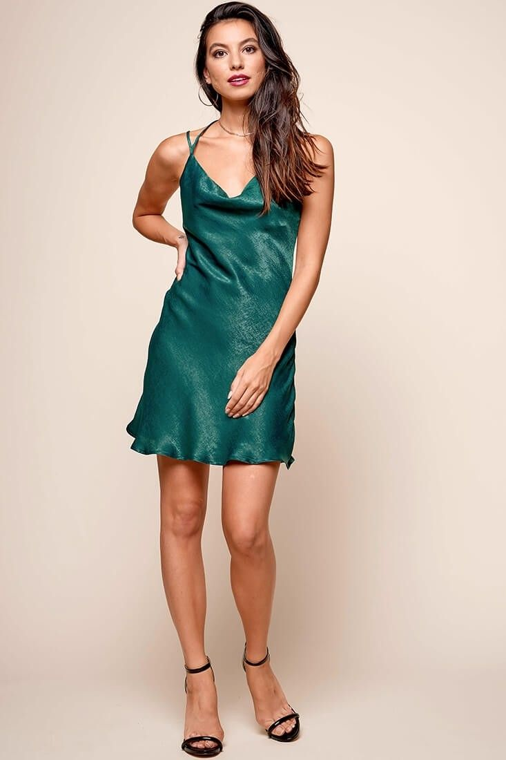 706eaed13e Shop the Kate Cowl Neck Slip Dress Forest Green