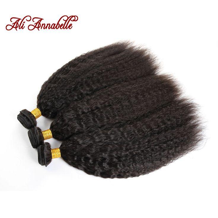 Annabelle Hair Brazilian Kinky Straight Hair Weave 3 Bundles 10-26 Inch Brazilian Virgin Hair Coarse Yaki Human Hair Extensions