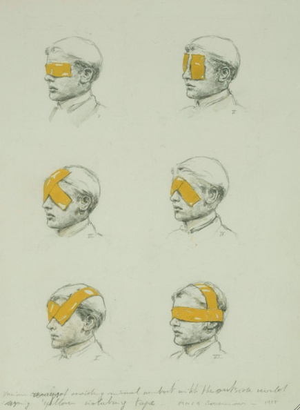 Micheal Borremans  Various ways of avoiding visual contact with the outside world using yellow isolating tape  1998  29,5 x 21 cm  pencil and watercolor on cardboard