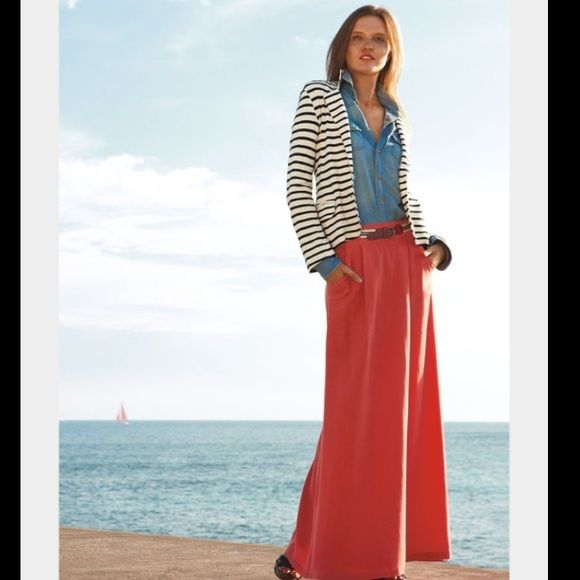 """Splendid Striped Blazer Nautical navy and white stripes, super soft, stretch-knit blazer, with coral lining in sleeves adds an unexpected PPP of color.  Front two-button closure. Front flap pockets. Back slit. Approx. length from shoulder: 22"""". Lined sleeves. Cotton; dry clean. Splendid Jackets & Coats Blazers"""