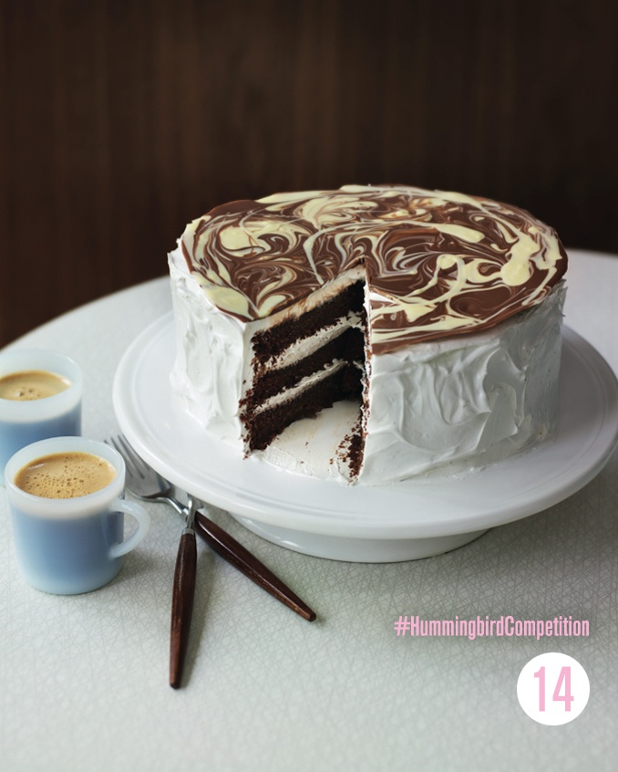Chocolate Cake with Vanilla Meringue Frosting: This show-stopping cake looks so amazing when finished that it is ideal for special events or wowing friends on their birthdays. Once they've tasted this cake they will wait you to make it every year.  #HummingbirdCompetition
