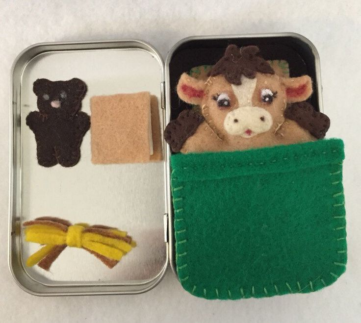 Lil' Maties - brown Cow -green bed set in tin by MatiesMeadow on Etsy https://www.etsy.com/listing/213961355/lil-maties-brown-cow-green-bed-set-in