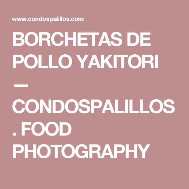 BORCHETAS DE POLLO YAKITORI — CONDOSPALILLOS. FOOD PHOTOGRAPHY