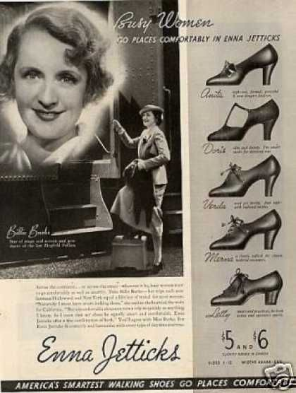 1930s Women Fashion Enna Jetticks Shoes Ad Billie Burke