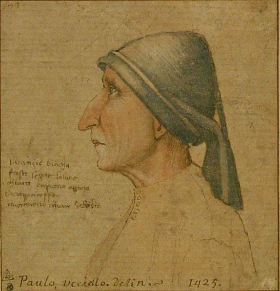 """Anonimo italiano?, Paolo Uccello ? (1397-1475), Ritratto di un uomo, 1425, disegno a pennello e acquarello rosa e blu, ritoccato a penna e inchiostro nero. Scritta a sinistra: """"La camicia bianca/fresco le gote/la lucie chiara capuccio azurro/la cioppa rossa/il verdaccio chiaro del ombra"""". Sul margine più in basso (da un'altra mano): """"Paulo, ucciello. desin 1425"""". Oxford, The Ashmolean Museum."""