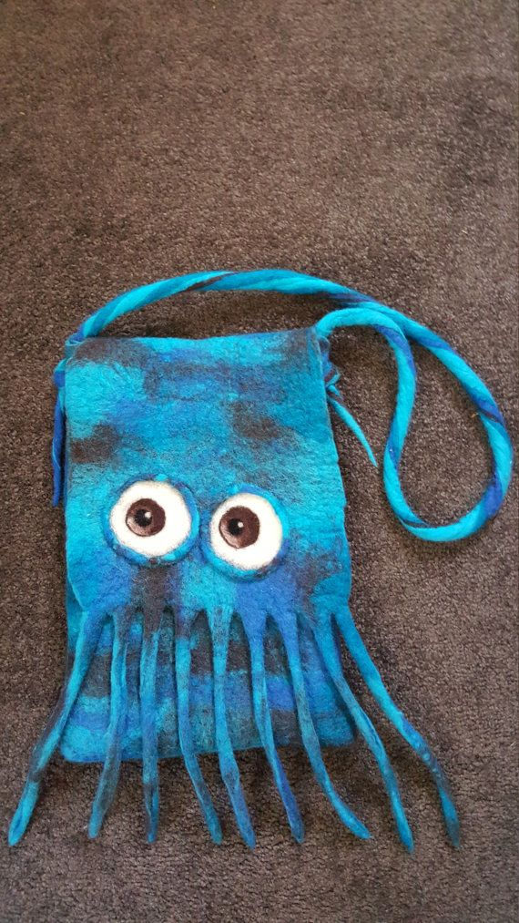 Sqwinky the squid by FeltUpBags on Etsy