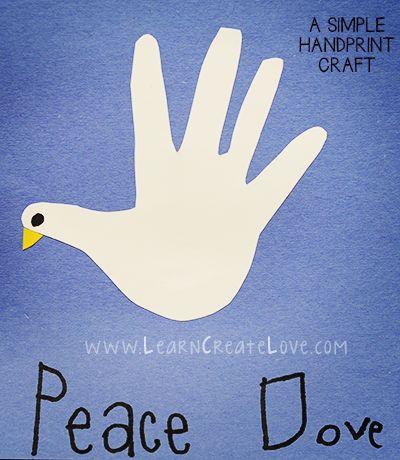 Handprint Dove Craft | LearnCreateLove.com