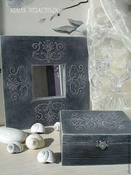 """Набор -- шкатулка и зеркало """"Узоры"""" - набор,рамки,шкатулка,шкатулка для украшений"""