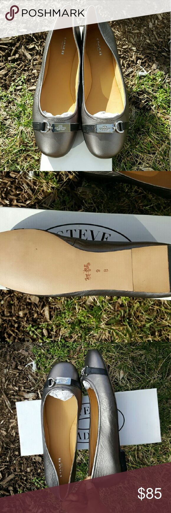 NWOT Coach Flats New pewter coach flats no box or tags Coach Shoes Flats & Loafers