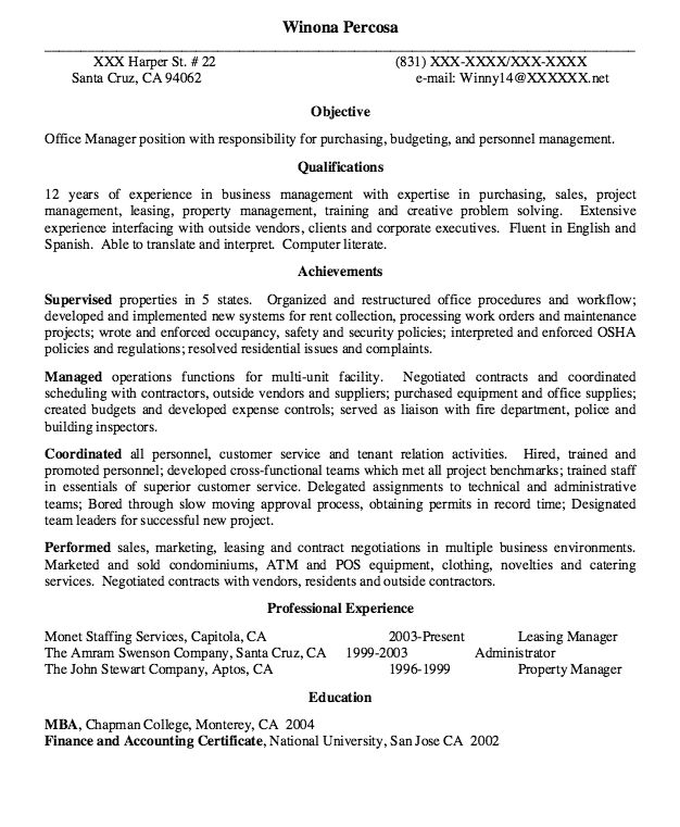 Leasing Manager Resume Sample - http://resumesdesign.com/leasing-manager-resume-sample/