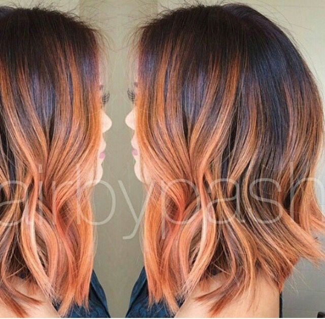 Love this! Long bob with gold orange highlights! From behind the chair Instagram