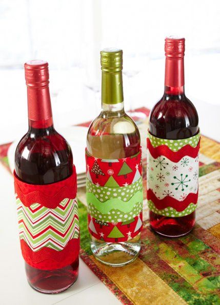 DIY: Create festive wine bottle wraps, perfect for gift-giving.