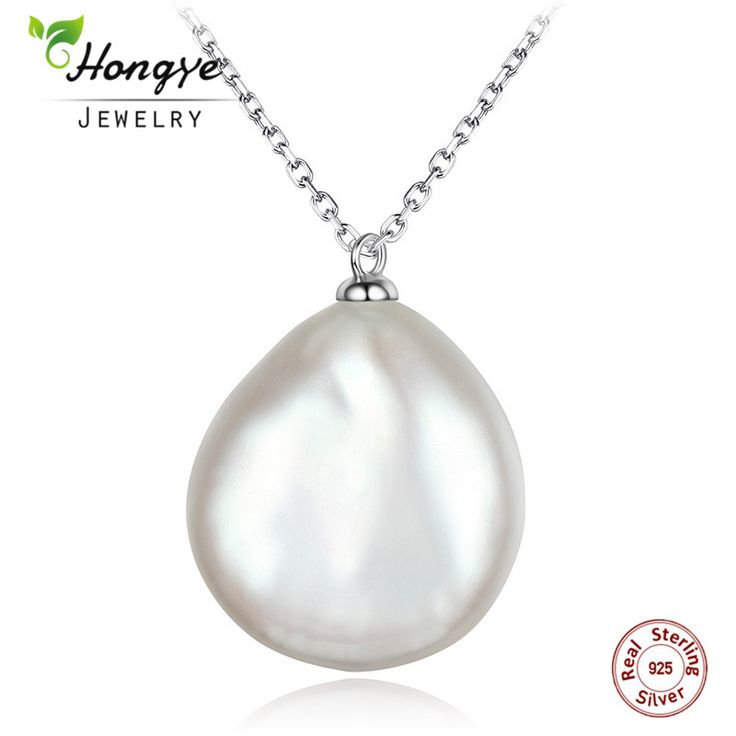 Cheap necklace with, Buy Quality necklace necklace directly from China necklace with pearls Suppliers: Hongye Baroque Irregular White Pearl Flat Natural Freshwater Pearl Necklace with 925 Sterling Silver Pendants for Women Gift