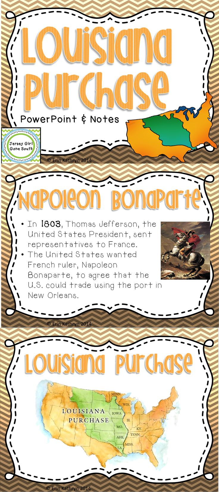 This PowerPoint and Note Set includes everything you need to teach your students about the purchase of the Louisiana Territory! Students are introduced to Napoleon Bonaparte and Thomas Jefferson's exchange of Louisiana in a very kid-friendly way!