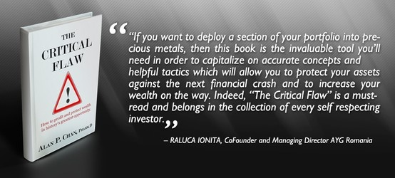 """Thank you Raluca Ionita for providing an endorsement for """"The Critical Flaw: How to profit and protect wealth in history's greatest opportunity"""". Your effort is much appreciated.  Read our latest endorsements and reviews on www.thecriticalflaw.com! Enjoy!"""