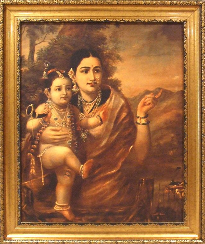 Krishna with Yashoda. by raja ravi varma