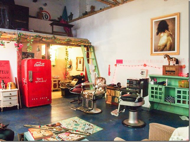 La Peluqueria hair salon, cafe, and vintage boutique in Bogota, Colombia - there are no mirrors so you put yourself entirely into the hands of your hair stylist!