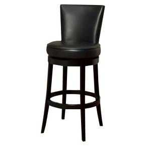 <p>Offered by Armen Living, this incomparably chic look of the Boston Swivel Barstool in black bicast leather is sure to elevate the design element in your home. Nailhead accents on the outside back add virulent value to sophisticated style.</p><p> </p><p> </p>