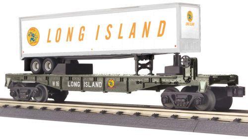 MTH-Railking-O-Gauge-Trains-Long-Island-Flat-Car-w-039-40-039-Trailer-30-76656