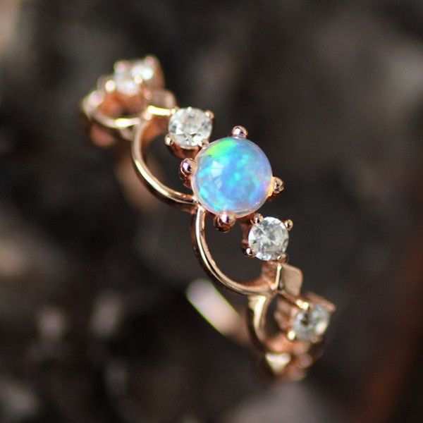 Fancy Rose Gold Plated Art Deco Opal Promise Ring 100695