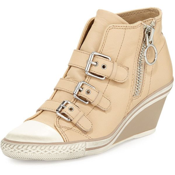 Ash Gin Bis Buckled Leather Wedge Sneaker ($111) ❤ liked on Polyvore featuring shoes, sneakers, clay, ash shoes, wedge heel sneakers, wedged sneakers, wedge trainers and leather sneakers