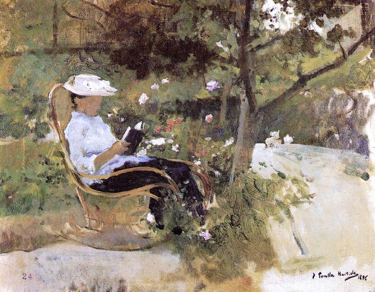 "le-desir-de-lautre: ""Joaquín Sorolla y Bastida (Spanish, 1863-1923), In the Garden, 1896. Oil on canvas, 37 x 48 cm. """