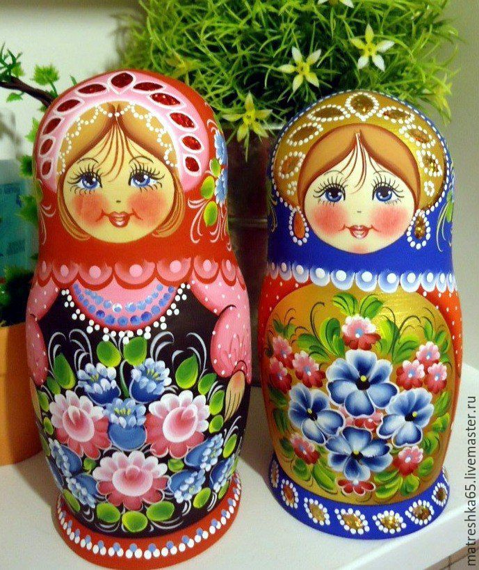 Купить Матрёшка цветочная , 5 мест, ручная роспись , покрыты лаком . - комбинированный, красный цвет