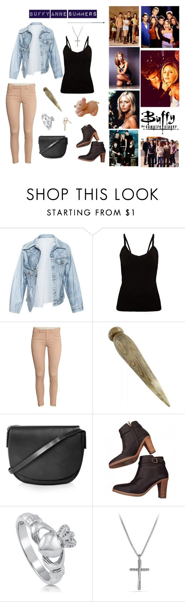 """Buffy Summers Look Simple / Sarah Michelle Gellar"" by miss-brendon ❤ liked on Polyvore featuring Faustine Steinmetz, H&M, Topshop, A.P.C., BERRICLE and David Yurman"