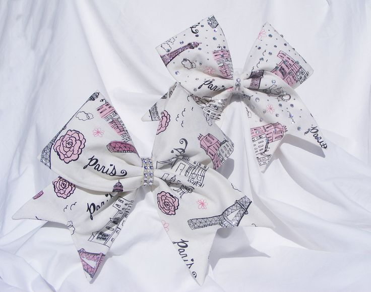 Cheer bow- All fabric sewn White Paris with glitter. With or without crystals- cheerleader bow- dance bow- cheerleading bow - pinned by pin4etsy.com