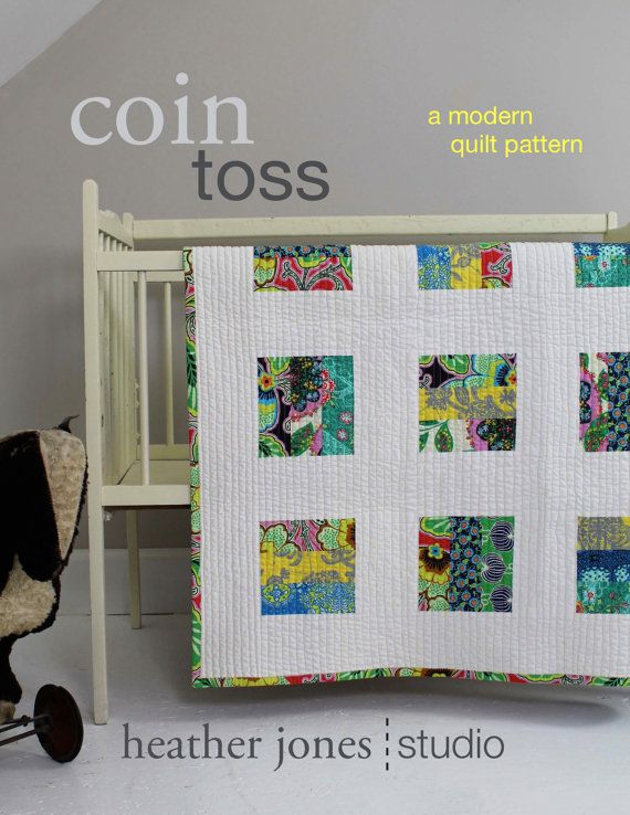 Coin Toss, a modern quilt PDF pattern in four sizes, by Heather Jones. $9.00, via Etsy.