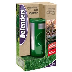 Defenders Mega-Sonic Cat Repeller Defenders Mega-Sonic Cat Repeller.This cat repeller from Defenders deters cats. You should always read the manufacturers instructions before using this product. (Barcode EAN=5036200126108) http://www.MightGet.com/april-2017-1/defenders-mega-sonic-cat-repeller.asp