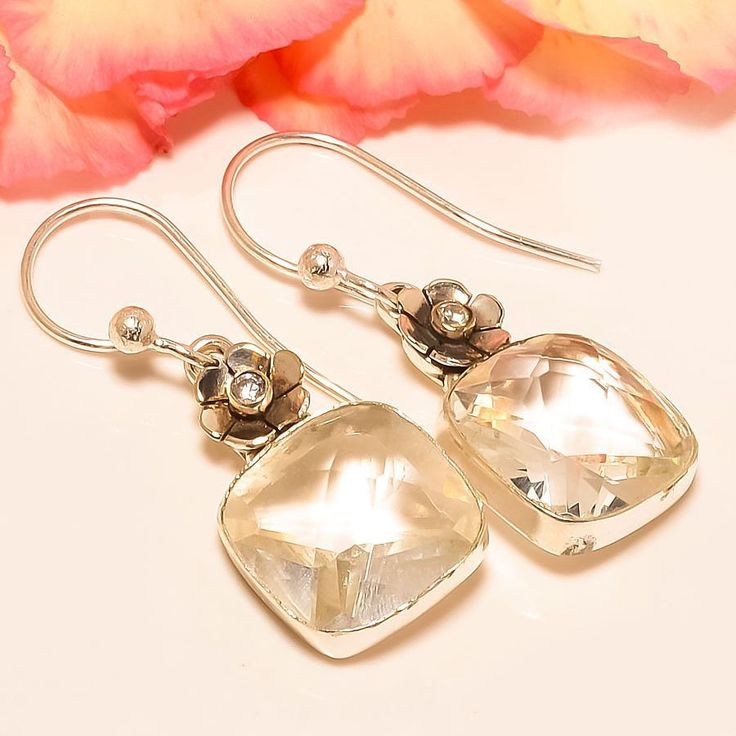 "White Topaz 925 Sterling Silver Jewelry Earring 1.58"" #Handmade #DropDangle"