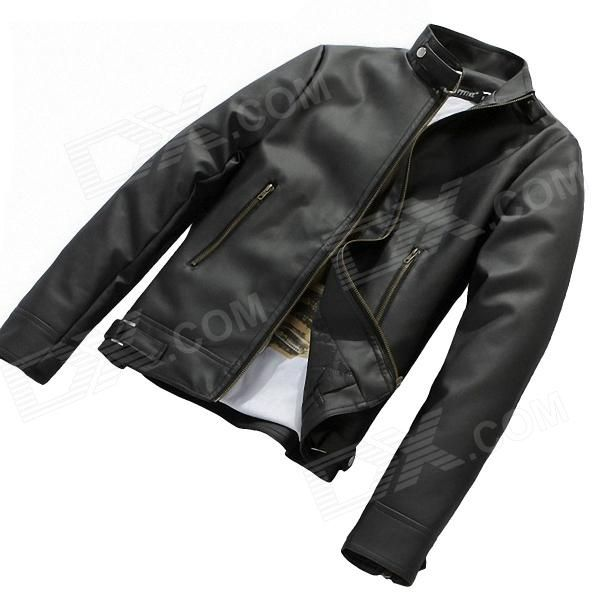 Fashionable Men's Slim Fit PU Leather Jacket - Black (Size-M)