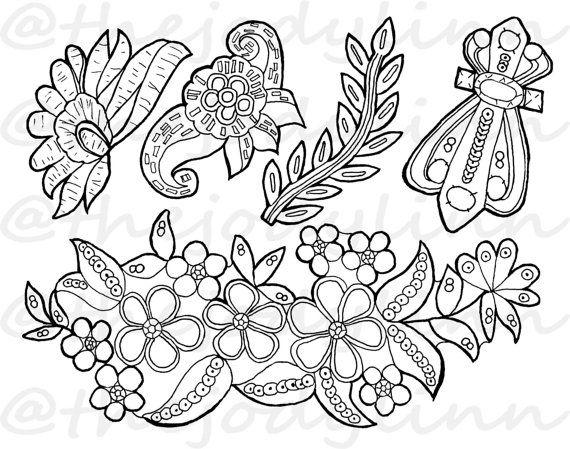 Museum Drawer: Appliques 3. Instant Download Digital Stamp Bundle. Line Art Illustration for Cards and Crafts