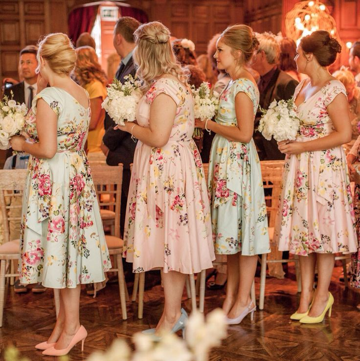 My beautiful bridesmaids in their floral dresses from The Pretty Dress Company
