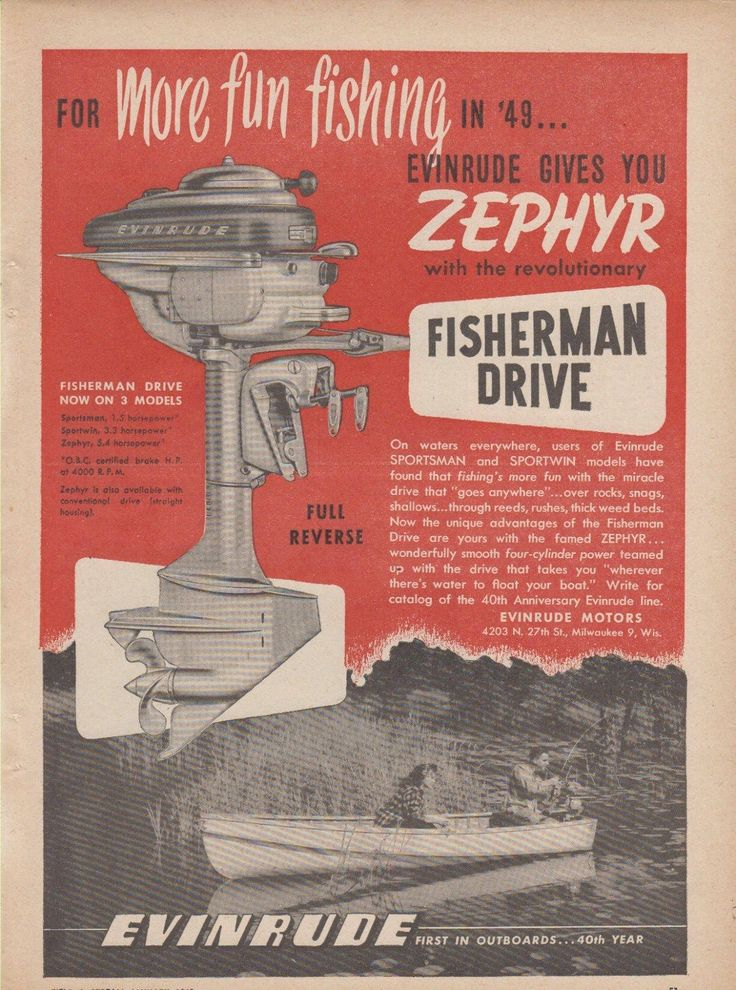 1949 evinrude zephyr outboard motor ad with fisherman for Ebay motors classified ads