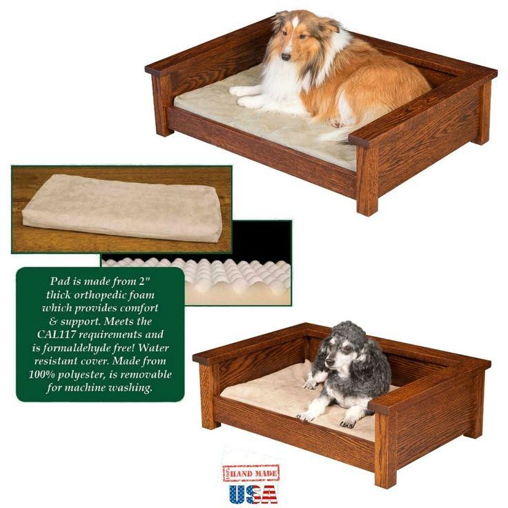 Luxury Oak Wood Pet Lounge Amish Handmade Furniture Dog Bed Amp Orthopedic Pad Amishhandmade