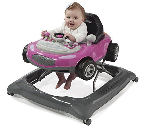 Stork Craft Mini-Speedster Activity Walker, Pink  Removable interactive electronic toy tray with a movable steering wheel, light-up dashboard and turn signals, and real car sounds, requires two AA batteries (not included)  Three-position height adjustable seat pad to grow with your child, seat pad is washable and removable  One hand quick fold frame design, folds flat for convenient storage  Recommended for children under 26 pounds  Meets ASTM and EN Safety Standards, not to be sold in...