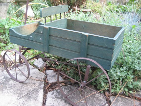Vintage Garden Cart Wagon Planter Garden Art By EndlesslyVintage