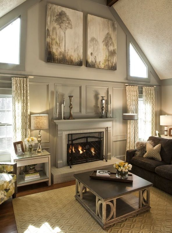 ceiling decorating ideas for living room. Mantle decor and canvas  Stunning living room Vaulted cathedral ceiling 119 best grey tan rooms images on Pinterest Living
