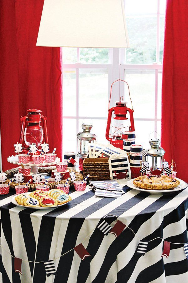 americana nautical low country boil crab party dessert table 940 39 s theme pinterest. Black Bedroom Furniture Sets. Home Design Ideas