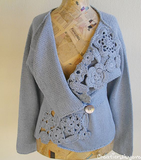 Silk knitted jacket with crochet embellishments