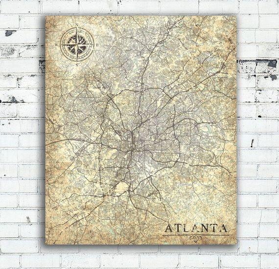 Atlanta Georgia Vintage map Atlanta Vintage map Atlanta Art Print Atlanta City poster Atlanta USA Vintage retro map United States of America