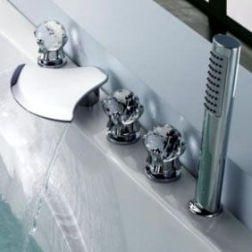 Contemporary Waterfall Tub Waterfall Tap with Hand Shower Glass Handles T6018  http://www.uktaps.co.uk/bathtub-taps-c-21.html