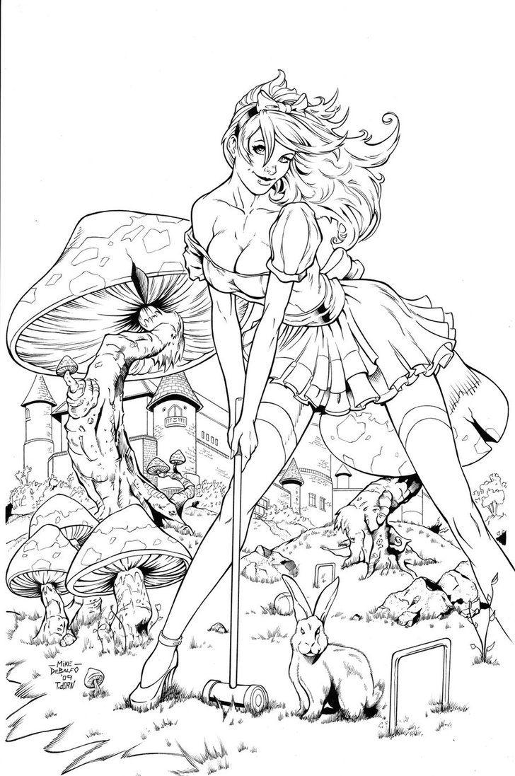 Wonderland Mushroom inks by madman1 on deviantART