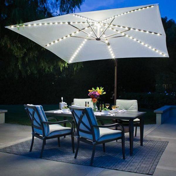 Offset Patio Umbrella, Patio Umbrellas With Solar Lights