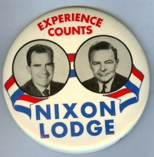 Incumbent Republican Vice President Richard Nixon (under Eisenhower) ran for President in 1960.  He and his running mate, Henry Cabot Lodge, lost to John F. Kennedy and Lyndon B. Johnson.