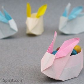 origami bunny candy holders for the older kids